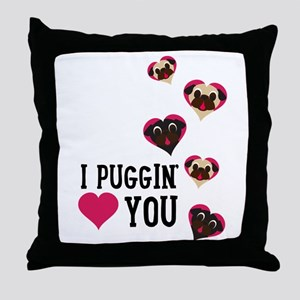 I Puggin' Love You Floating Hearts Throw Pillow