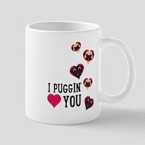 I Puggin' Love You Floating Hearts Mugs