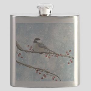 Winter Chickadee Flask