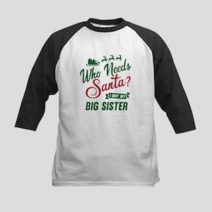 Santa Big Sister Kids Baseball Tee