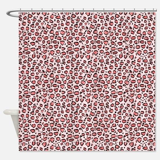 Pink Leopard Animal Print Pattern Shower Curtain