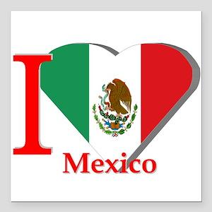 "I love Mexico Square Car Magnet 3"" x 3"""