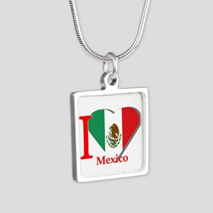 I love Mexico Silver Square Necklace