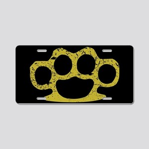 Brass Knuckles Aluminum License Plate