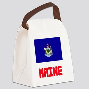 Maine Flag Design Canvas Lunch Bag