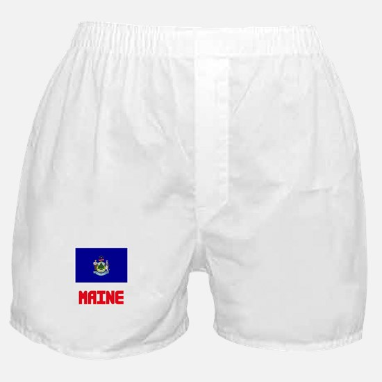 Maine Flag Design Boxer Shorts