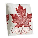 Canada Souvenirs Vintage Burlap Throw Pillow
