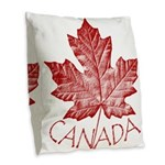 Canada Souvenirs Vintage Burlap Throw Pillow