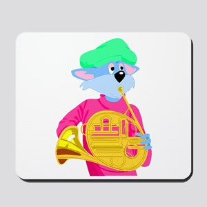Cat Playing French Horn Mousepad