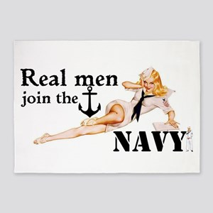 Real men join the Navy 5'x7'Area Rug