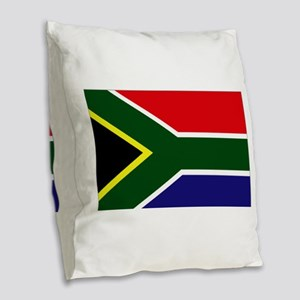 South African flag Burlap Throw Pillow