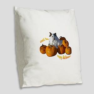 Halloween Ghost Dog Burlap Throw Pillow