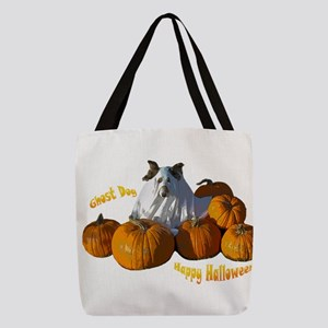 Halloween Ghost Dog Polyester Tote Bag