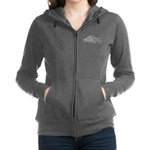 Three Leaping Borzoi Silver Women's Zip Hoodie
