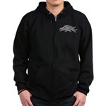 Three Leaping Borzoi Silver Zip Hoodie (dark)