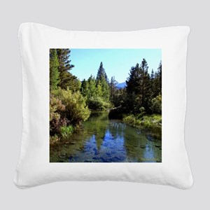 Mountain Reflections Square Canvas Pillow