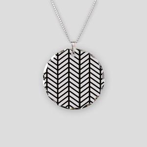Black Striped Weave Print Necklace