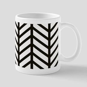 Black Striped Weave Print Mugs