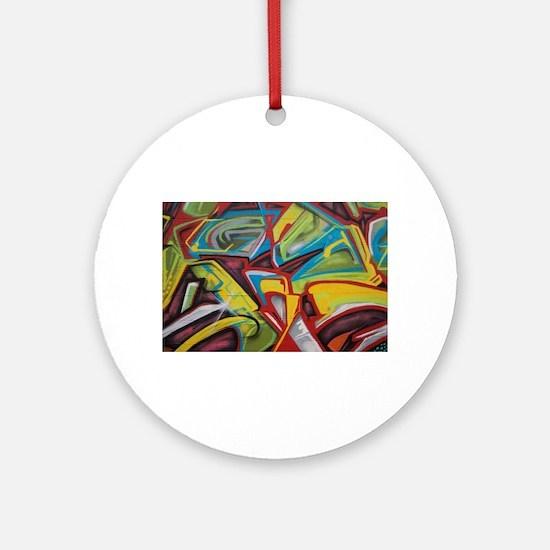Colors vibrant graffiti art Ornament (Round)