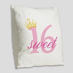 Sweet Sixteen Burlap Throw Pillow