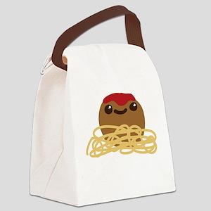 Cute Meatball and Spaghetti Canvas Lunch Bag