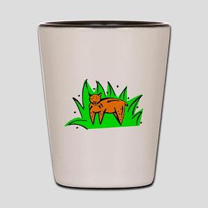 Cat In Grass Shot Glass