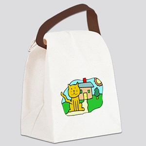 Cat In Front Of House Canvas Lunch Bag