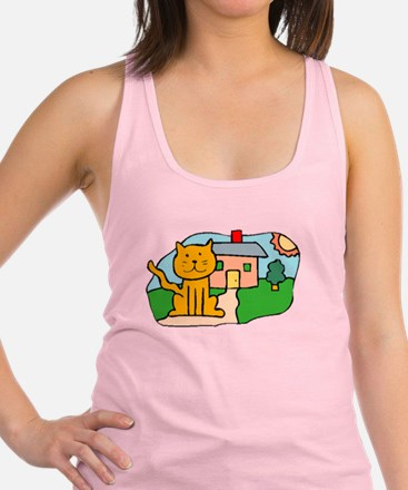 Cat In Front Of House Racerback Tank Top