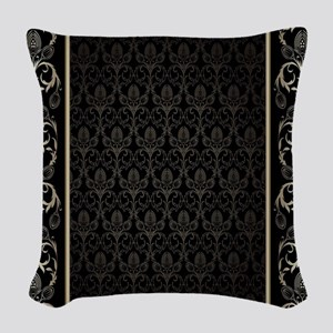 Black And Gold Damask Woven Throw Pillow