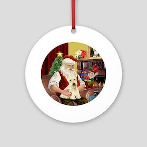 Santa's Wheaten Scottish Terrier Ornament (Round)