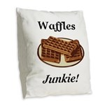 Waffles Junkie Burlap Throw Pillow