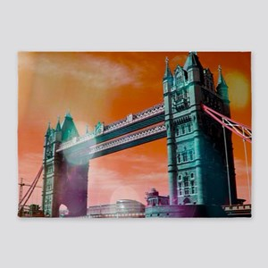 London Tower Bridge,bokeh orange 5'x7'Area Rug