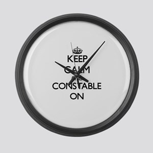 Keep Calm and Constable ON Large Wall Clock