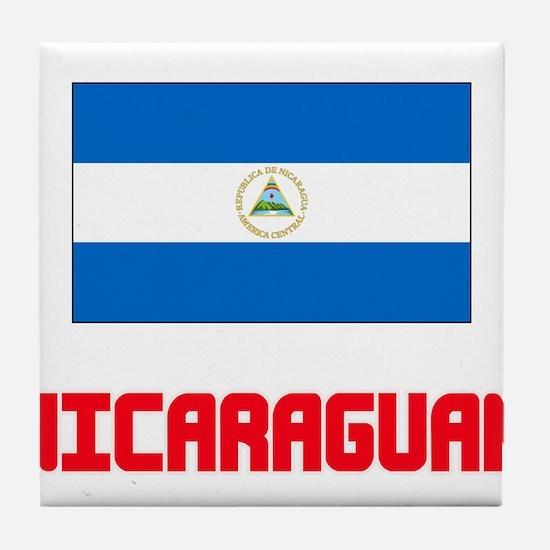 Nicaraguan Flag Design Tile Coaster