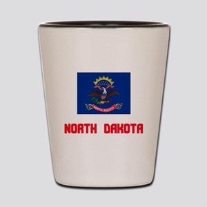 North Dakota Flag Design Shot Glass