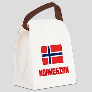 Norwegian Flag Design Canvas Lunch Bag