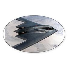 B2 Stealth Bomber In Flight Oval Sticker