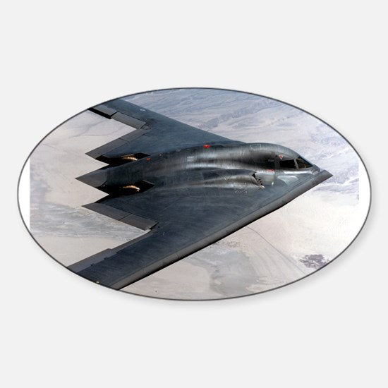 B2 Stealth Bomber In Flight Oval Decal