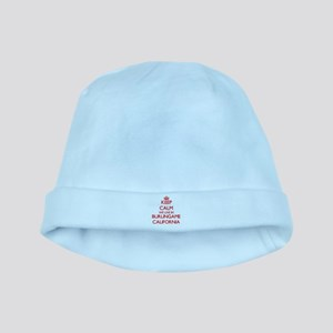 Keep calm we live in Burlingame Californi baby hat