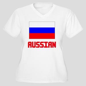 Russian Flag Design Plus Size T-Shirt