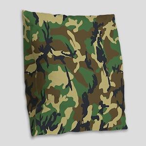 Woodland Camouflage Burlap Throw Pillow