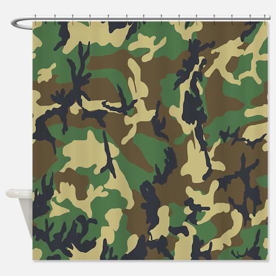 Woodland Camouflage Shower Curtain