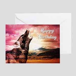 Ghost wolf howling birthday card Greeting Cards