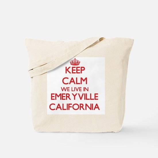 Keep calm we live in Emeryville Californi Tote Bag