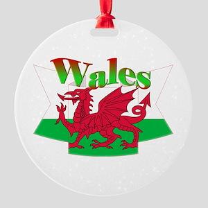 Welsh decorative ribbon Round Ornament