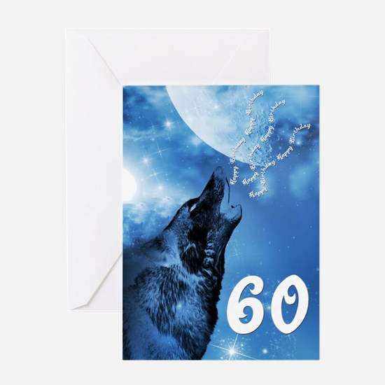 60th birthday, ghost wolf howling Greeting Cards