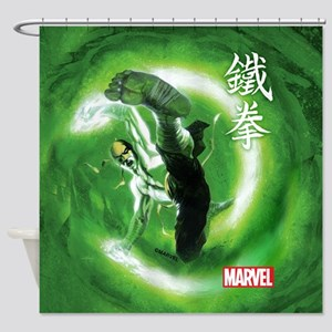 Iron Fist Green Painting Shower Curtain