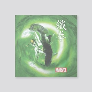 "Iron Fist Green Painting Square Sticker 3"" x 3"""