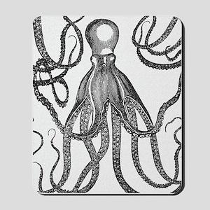 Black Exquisite Ancient Octopus Mousepad