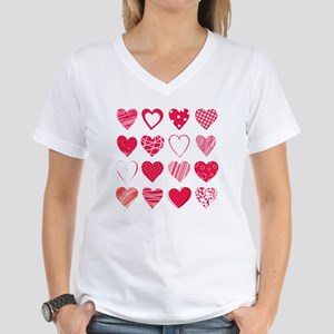 Hearts Women's V-Neck T-Shirt